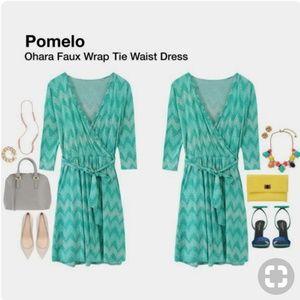 Pixley Ohara Green Zig Zag Faux Wrap Tie Dress